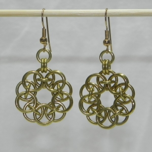 Brass Helm Round Earrings