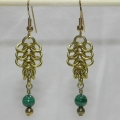 Brass European 4-1 Earrings with Malachite Beads