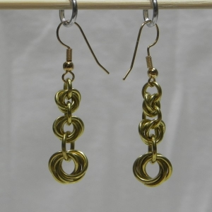 Brass Graduated Mobius Fall Earrings