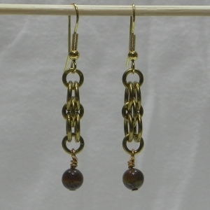 Brass Helm Earrings with Tiger's Eye Beads