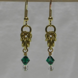 Brass Melinda Earrings with Emerald Swarovski Crystal Beads