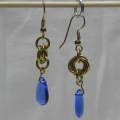 Brass Mobius Earrings with Glass Drops