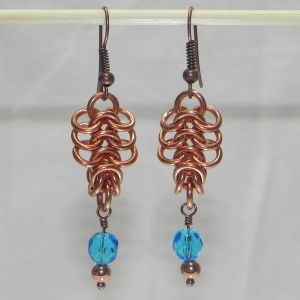 Copper European 4-1 Earrings with Aqua Czech Glass Beads