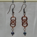 Copper Helm Earrings with Freshwater Black Pearl Beads