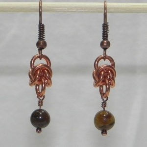 Copper Birdcage Earrings with Tiger's Eye Beads