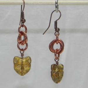 Copper Mobius Earrings with Cat Beads