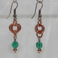 Copper Mobius Earrings with Emerald Czech Glass Beads