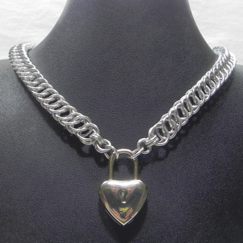 Aluminum half persian 4 1 necklace with heart padlock pendantclasp mozeypictures Image collections