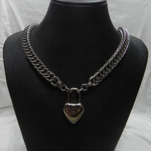 Stainless Steel Half Persian 4-1 Necklace with Heart Padlock pendant/clasp