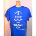 Keep Calm and Weave On T-shirt - Blue - Adult Small